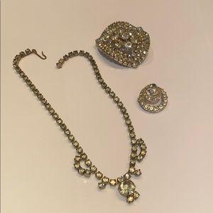 Jewelry - Vintage clear rhinestone jewelry lot